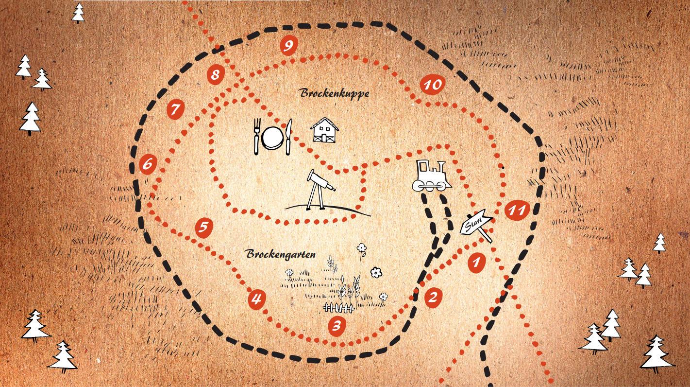 Karte: Brockenkuppenrundgang mit Brockengarten